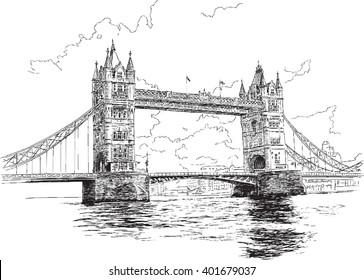 Tower Bridge in London, hand-drawing, vector illustration.