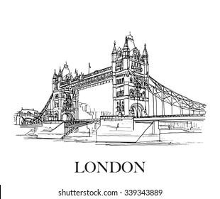 Tower Bridge, London, UK. Hand drawn sketch on paper.