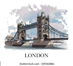 TOWER BRIDGE, LONDON, UK: Panoramic view to the Tower Bridge, iconic symbol of London. Hand drawn sketch, illustration. Poster, postcard, calendar