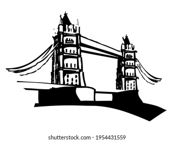 Tower Bridge over the river Thames in London, England, UK, United Kingdom, famous tourist sight and attraction, vector, symbol, illustration in black and white color, isolated on white background