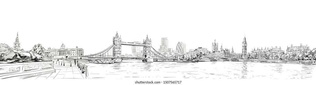 Tower Bridge. Trafalgar Square.  Big Ben. London. England. City panorama. Collage of landmarks. Vector illustration. Urban sketch.