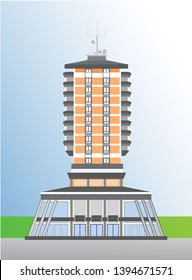 Tower building, city,  modern, new shooping mall, living apartmans
