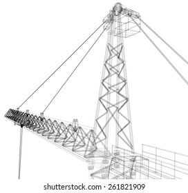 Tower construction crane. Detailed vector illustration isolated on white background. Vector rendering of 3d