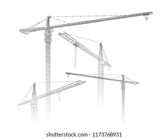 Tower construction crane. Vector line art on white