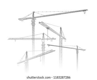 Tower construction crane. Vector line art on white