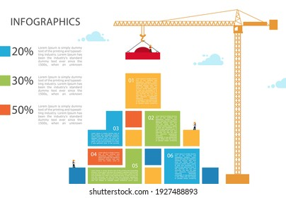 Tower crane builds building. Infographic Concept of building business. infographic of 6 steps. Crane and building color block. Vector Illustration.
