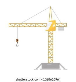Tower crane icon, vector Illustration on the white background.