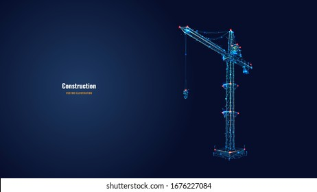 Tower crane isolated on dark blue background. Building and construction sites. Machinery and equipment. Low Poly wireframe digital vector illustration. Polygons, lines, particles  and connected dots.