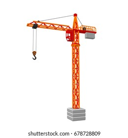 Tower crane. Isolated on white background.3D Vector illustration.