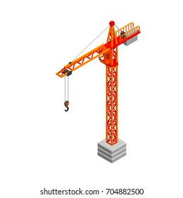 Tower crane. Isolated on white background. 3D Vector illustration. Isometric view.