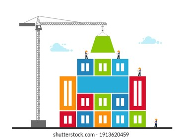 Tower crane made of colored blocks builds city. concept of building success. Vector Illustration in modern flat style.