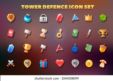 Tower defence icon set. 2d game icon