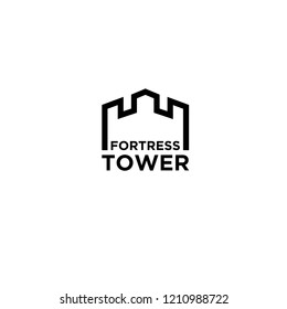 tower fortress logo icon designs vector