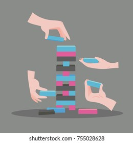 Tower game with hands. Wooden risk block game. Stack balancing toy. Color vector illustration