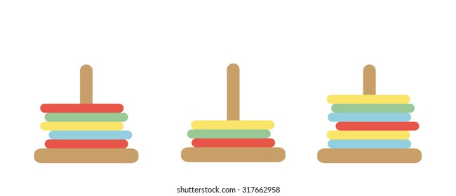 Tower of Hanoi Vector Set - children's wooden ring toy