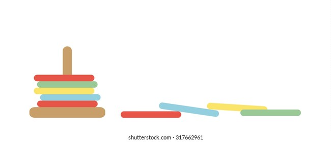 Tower of Hanoi Vector Set - child's wooden ring toy