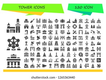 tower icon set. 120 filled tower icons. Simple modern icons about  - Stockholm, Brandenburg gate, Atomium, Sand castle, Scraper, Notre dame, Saint paul, Control tower, Bayterek