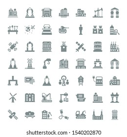 tower icons. Editable 49 tower icons. Included icons such as Building, Industrial, Crane, Communication, Tank, Satellite, Arch, Windmill, Real state. tower trendy icons for web.