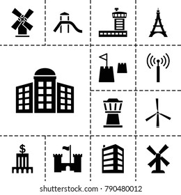 Tower icons. set of 13 editable filled tower icons such as building   isolated  sign symbol, mill, bank, castle, airport