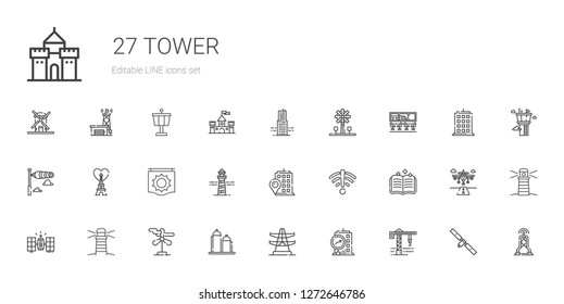 tower icons set. Collection of tower with crane, building, electric tower, silo, wind turbine, lighthouse, satellite. Editable and scalable icons.