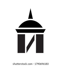 A tower logo with a spire