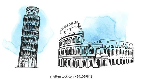 Tower of Pisa, Coliseum, world landmark vector set on hand drawn watercolor background, isolated on white