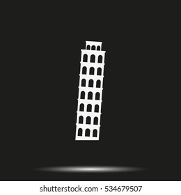 Tower of Pisa icon. Tower illustration.