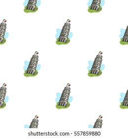 Tower of Pisa in Italy icon in cartoon style isolated on white background. Italy country pattern stock vector illustration.