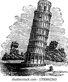 Tower of Pisa,  located in Italy, vintage engraving.