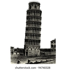 "Tower of Pisa - vintage engraved illustration - ""La mosaique "" edited by A.Bourdilliat  1875 - Paris"