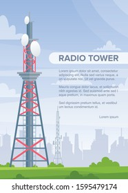 Tower radio flat vector poster template. Telecommunication and broadcasting wireless technology informational banner layout with text space. Transmitter, Internet connection station with satellites.