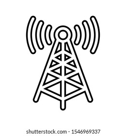 Tower signal antenna icon on white background. radio antenna icon