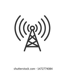 Tower signal icon template color editable. Radio antenna. Broadcasting tower. Transmitter Signal symbol vector sign isolated on white background. Simple logo vector illustration for web design