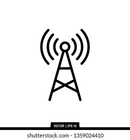 Tower Signal Icon Vector Illustration Logo Template