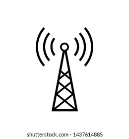 Tower Signal's Icon. Wireless Connection, Transmitter or Transmission Illustration As A Simple Vector Sign & Trendy Symbol in Line Art  Style for Design and Websites, Presentation or Mobile Apps.