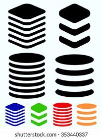 Tower symbols. Stacked cylindrical, squarish barrel shapes.