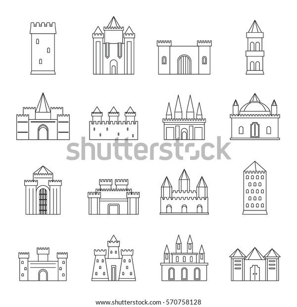 Vector De Stock Libre De Regalías Sobre Iconos De Torres Y Castillos Dibujo570758128
