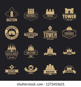 Towers castles logo icons set. Simple illustration of 16 towers castles logo vector icons for web