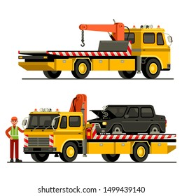 Towing truck car service vector illustration