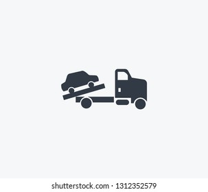 Towing truck icon isolated on clean background. Towing truck icon concept drawing icon in modern style. Vector illustration for your web mobile logo app UI design.