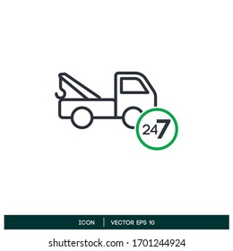 towing truck service non stop icon design element vector eps 10
