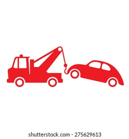 Towing truck sign. Evacuate icon. Towing truck in vector isolated on white.