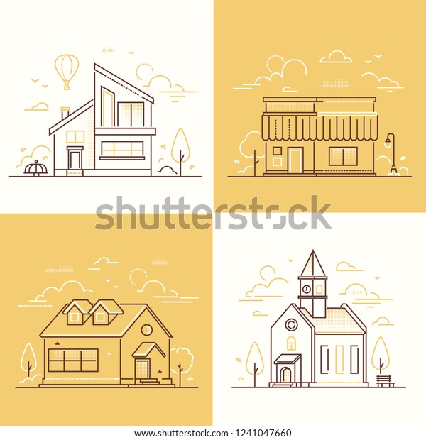Town architecture - set of thin line design style vector illustrations on white and yellow background. High quality collection of small houses, public and private buildings, church, cafe, cottages