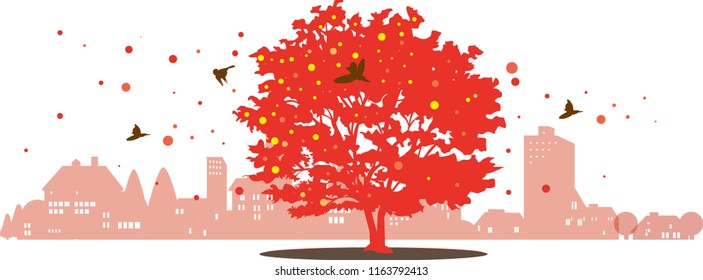 The town of autumnal leaves