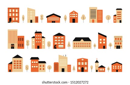 Town building design city landscape. Vector colorful house exterior flat illustration. Residential set houses front view, townhouse building apartment, home facade