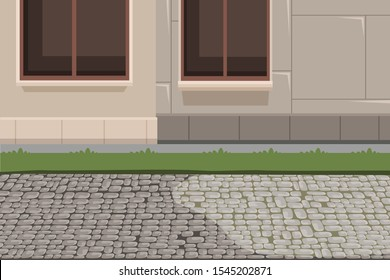 Town building exterior and pavement background. House facade basement, grass lawn and stone footpath flat vector illustration. Paving slabs, sidewalk backdrop. City architecture concept