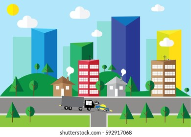 town and building in natural life vector illustration background textures.