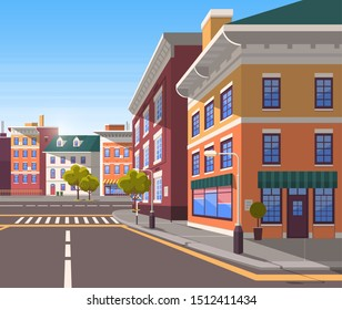 Town with buildings and empty street, 3d look of city road and houses. Bushes and trees, greenery cityscape. Skyline, crossroad with zebra. Cityscape with houses facades. Urban landscape. Flat cartoon