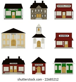 Town Buildings including school, train station, town hall and more.