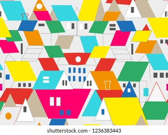 Town and city buildings seamless pattern with roof and window, vector graphic illustration